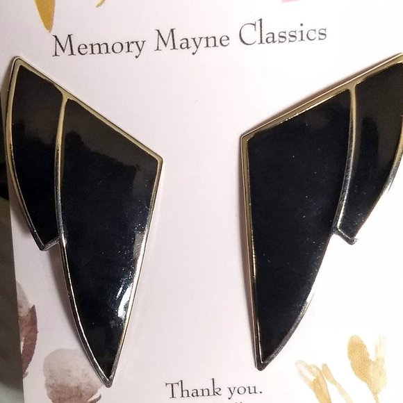 3/$25 art deco black 'silver' triangle earrings